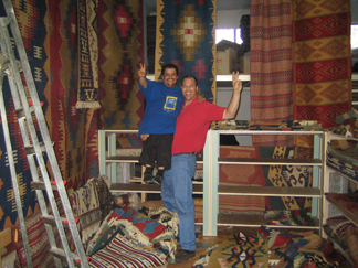 Steve (right) and Jon-Sevaar, purveyor of our Jon-Sevaar Kilims.  Jon sells, his sister designs, and their extended family creates their simple escme kilims.