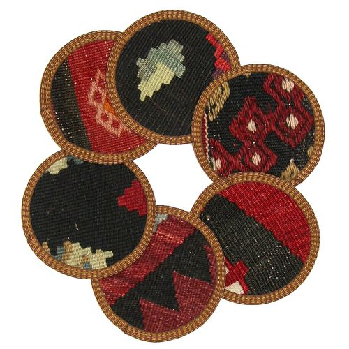 Kilim Coasters Set of 6 | Blak and Multi YA-CS-Black/Multi