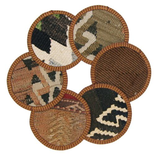 Kilim Coasters Set of 6 | Brown and Neutral YA-CS-Brown/Neutral