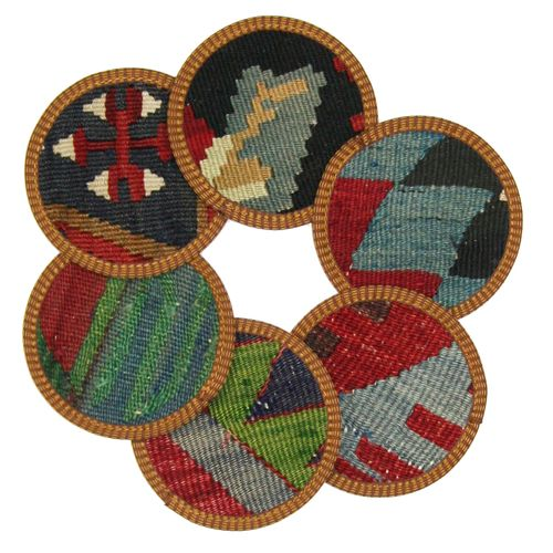 Kilim Coasters Set of 6 | Denim and Multi YA-CS-Denim/Multi