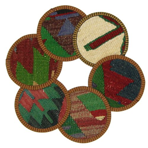 Kilim Coasters Set of 6 | Green and Multi YA-CS-Green/Multi