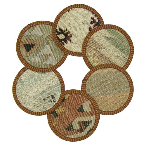 Kilim Coasters Set of 6 | Light Neutrals YA-CS-LtNeutral