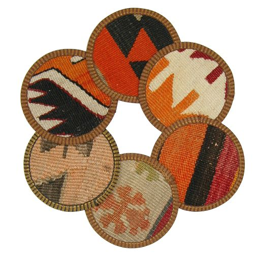 Kilim Coasters Set of 6 | Orange & Yellow YA-CS-Orange/Yellow