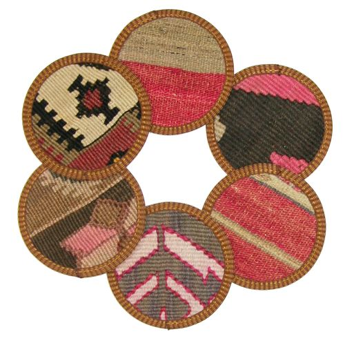 Kilim Coasters Set of 6 | Pink and Taupe YA-CS-Pink/Taupe