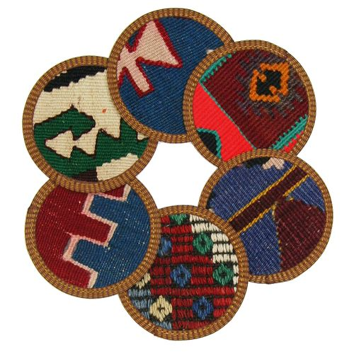Kilim Coasters Set of 6 | Primary and Multi YA-CS-Primary/Multi