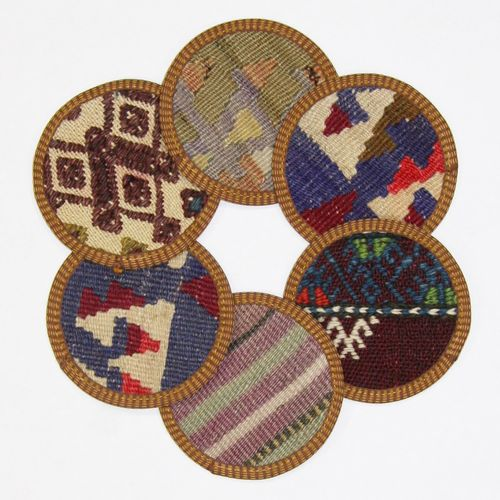 Kilim Coasters Set of 6 | Purple and Lavender YA-CS-Purp/Lav