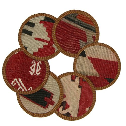 Kilim Coasters Set of 6 | Red and White YA-CS-red/white