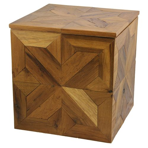 White Oak Parquet Ottoman | Antique Oak Box  YIL1212-1003-BOX