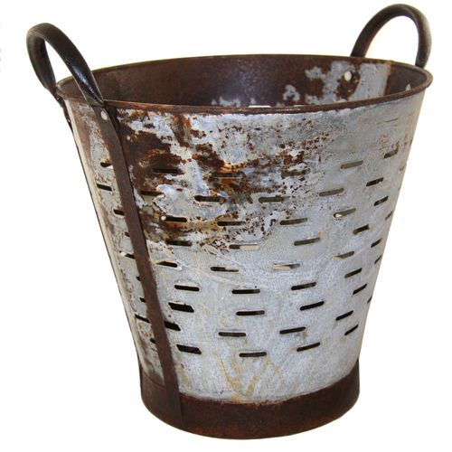 Vintage Olive Bucket | Harvest Bucket Partially Rusty