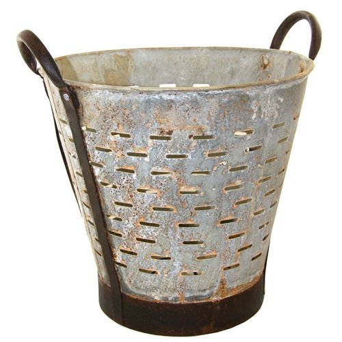 Vintage Olive Bucket | Gold Color Harvest Bucket