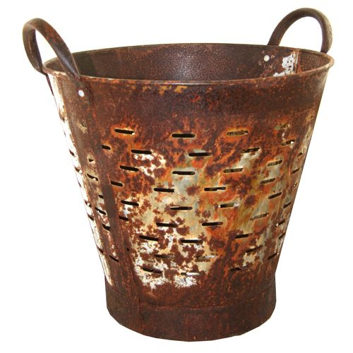 Vintage Olive Bucket | Extra Rust Harvest Bucket