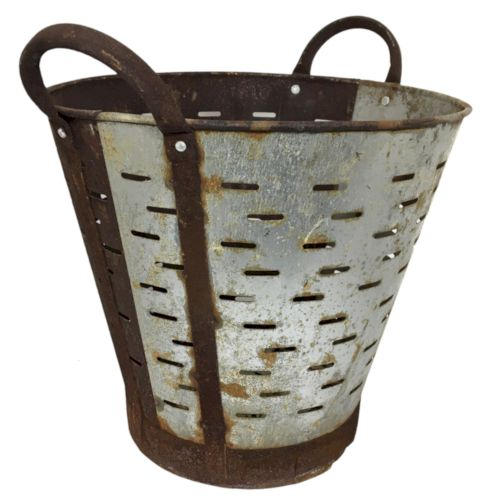 Vintage Olive Bucket | Half and Half Harvest Bucket YIL1212-1026-7
